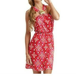 Mudpie Leila Fanshell Red Printed Dress